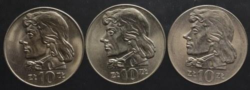 PRL, zestaw 10 złotych Kościuszko 1969-1972 (3 sztuki)