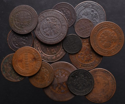 Rosja, zbiór drobnych miedzianych monet (16 sztuk)