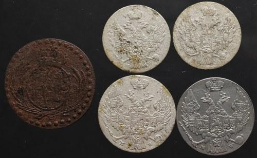 Zabór rosyjski, zestaw atrakcyjnych drobnych monet (5 sztuk)