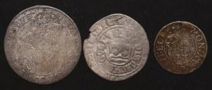 Zestaw srebrnych monet w tym Ort 1668 (3 sztuki)
