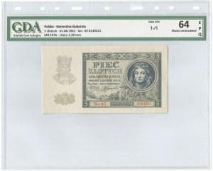 GG, 5 złotych 1941 AE - GDA 64EPQ