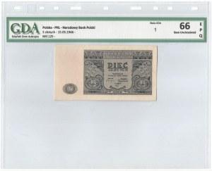 PRL, 5 złotych 1946 - GDA 66EPQ