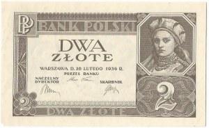 II RP, 2 złote 1936 - najrzadszy bez serii i numeracji
