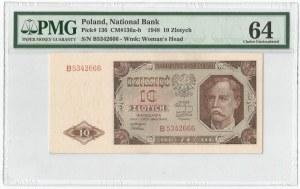 PRL, 10 złotych 1948 B - PMG 64