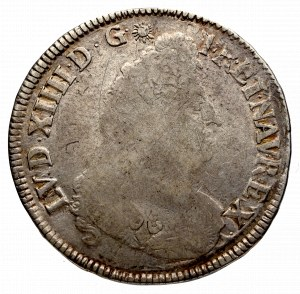 Francja, Ludwik XIV, 1/2 ecu 1694, Bordeaux - przevita na wcześniejszej emisji