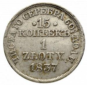 Zabór rosyjski, 15 kopiejek=1 złoty 1837 MW, Warszawa