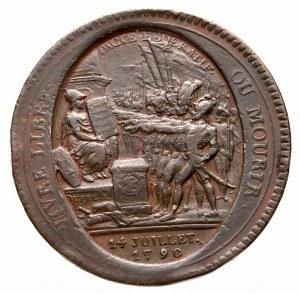 Francja, Żeton miedziany 1790 - rzadki