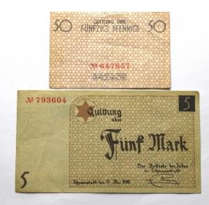 Getto w Łodzi, Zestaw 5 marek i 50 fenigów 1940