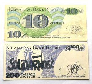 PRL, Pieniądz Solidarność - 10 i 200 złotych