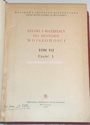 STUDIA I MATERIAŁY DO HISTORII WOJSKOWOŚCI VII-IX