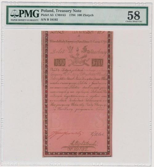 100 złotych 1794 - B - PMG 58 - znak wodny DUŻY Honig