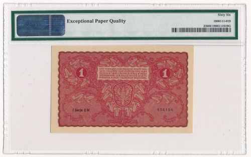 1 marka 1919 - I Serja CW - PMG 66 EPQ