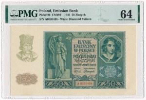 50 złotych 1940 - A - PMG 64 - niski numer