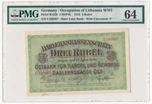 Poznań 3 ruble 1916 - U - krótka klauzula - PMG 64