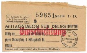 Kupon na obiad dla Getta Litzmannstadt