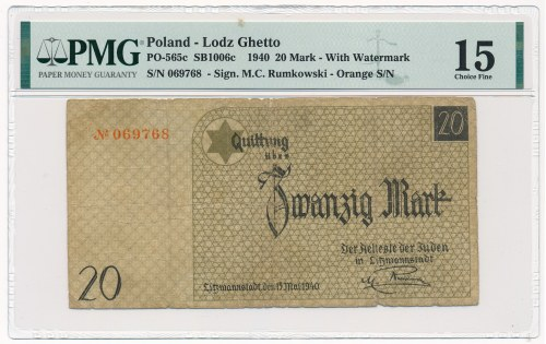 20 marek 1940 num.1 ze znakiem wodnym - PMG 15 - RZADKOŚĆ