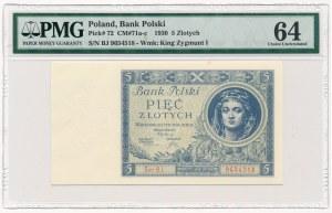 5 złotych 1930 Ser.BJ. - PMG 64
