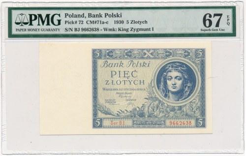 5 złotych 1930 Ser.BJ. - PMG 67 EPQ