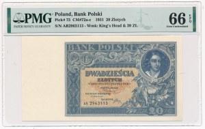 20 złotych 1931 - AB - PMG 66 EPQ - rzadka odmiana