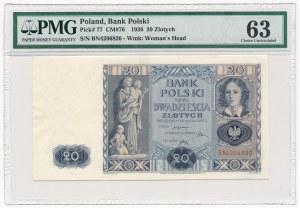 20 złotych 1936 - BN - PMG 63