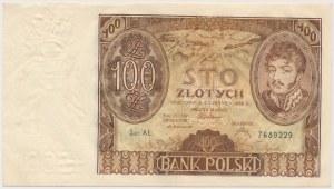 100 złotych 1932 Ser.AŁ. - bez dodatkowych znaków wodnych