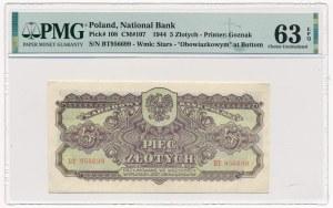 5 złotych 1944 ...owym - BT - PMG 63 EPQ