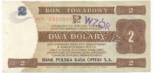 Pewex Bon Towarowy 2 dolary 1979 WZÓR HM 0000000