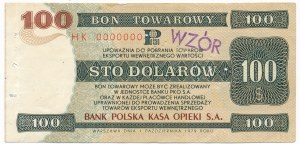 Pewex Bon Towarowy 100 dolarów 1979 WZÓR HK 0000000
