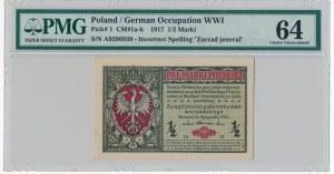 1/2 marki 1916 Jenerał - A - PMG 64 numerator czerwony