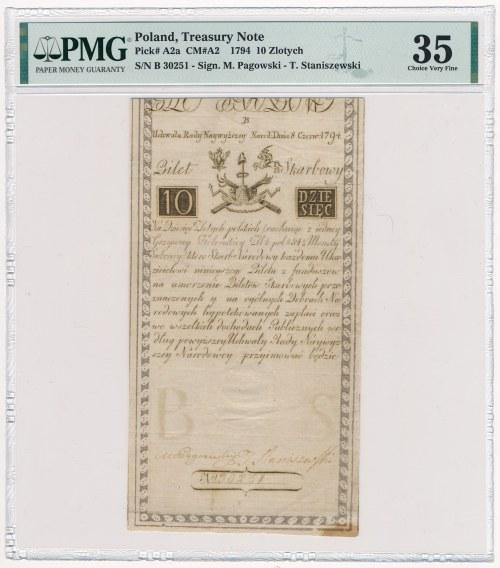 10 złotych 1794 - B - PMG 35 - piękny, herbowy znak wodny
