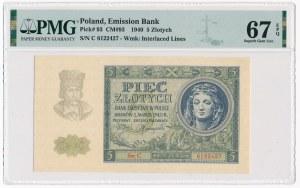 5 złotych 1940 - C - PMG 67 EPQ - b.rzadka seria w wyśmienitym stanie