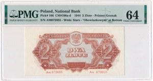 2 złote 1944 ...owym - Am - PMG 64