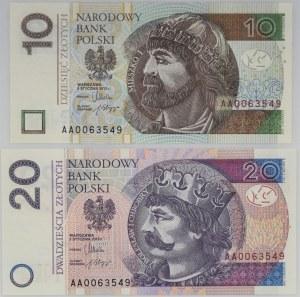 10 i 20 złotych 2012 - identyczna seria oraz numer seryjny