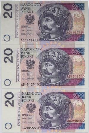 20 złotych 2012 AA,AB,AC - Komplet pierwszych serii