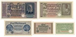 Niemcy, Zestaw, 50 Reichspfennig - 50 Reichsmark (5szt.)