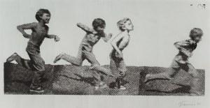 Jan Tarasin (1926-2009), Biegnący chłopcy, 1990
