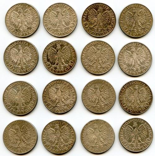 Zestaw szesnastu monet srebrnych 10 złotych, Głowa kobiety