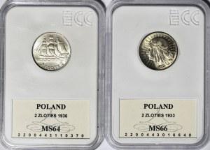 zestaw 2 złote 1933 Głowa i 1936 Żaglowiec
