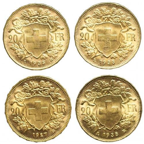 Szwajcaria, Zestaw czterech złotych monet 20 franków