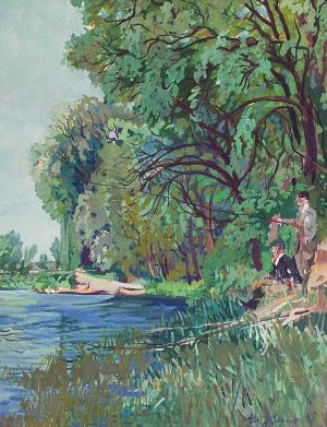 Alfred Józef SIPIŃSKI (1886-1968), Pejzaż z rybakami, 1923