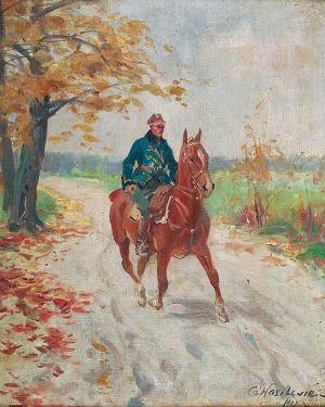 Czesław WASILEWSKI (ok. 1875-1946/47), Żołnierz na koniu, 1927
