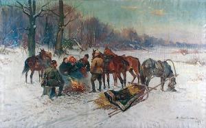 Czesław WASILEWSKI (ok. 1875-1946/47), Przy ognisku, 1927