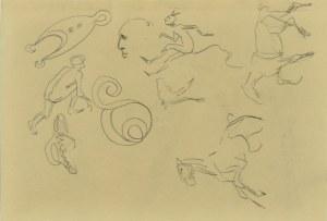 Karol Kossak (1896-1975), Szkice koni, rysunki satyryczne diabła, 1922