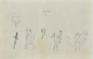 Karol Kossak (1896-1975), Szkice postaci, jeźdźca, głowy konia, sztyletu, 1922