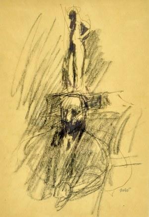 Wojciech Weiss (1875-1950), Portret mężczyzny z rzeźbą w tle