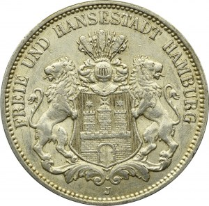 Niemcy, Hamburg, 3 marki 1912
