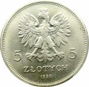 II Rzeczpospolita, 5 złotych 1930 Sztandar - PCGS MS64+