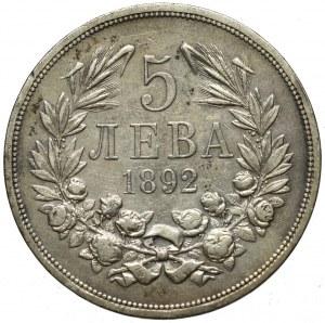 Bulgaria, 5 leva 1892