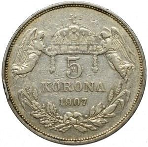 Hungary, 5 corona 1907