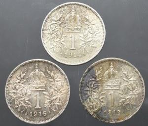 Austria, zestaw 1 korona 1914-1916 (3 egzemplarze)